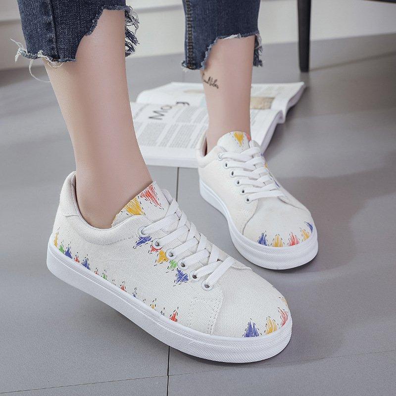Spring Autumn Canvas Shoes Platforms Lace-Up Graffiti Shoes Women