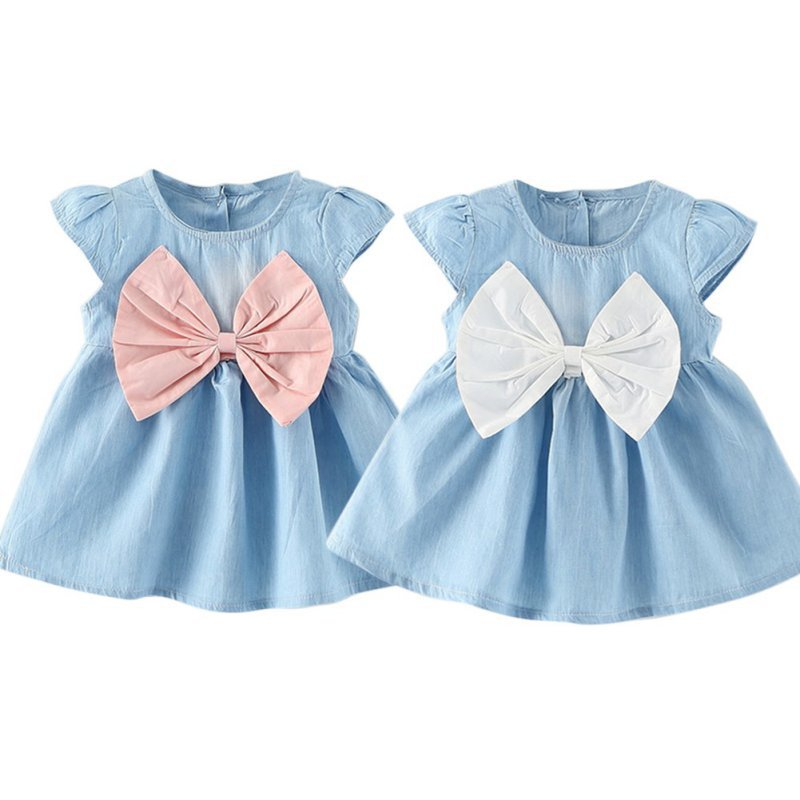 Sweet Baby Girls Bow-knot Design Mini Dress Children Baby Summer Style Fashion