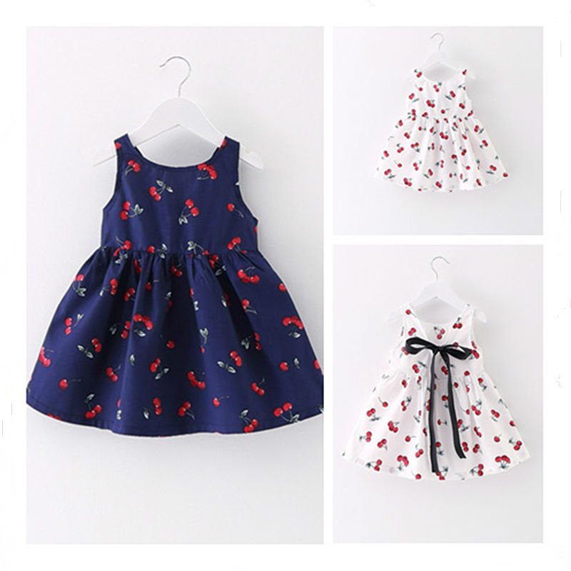 2017 Cotton Baby Dress For Girl Print Infant Cute Clothes Bow High Quality Summer