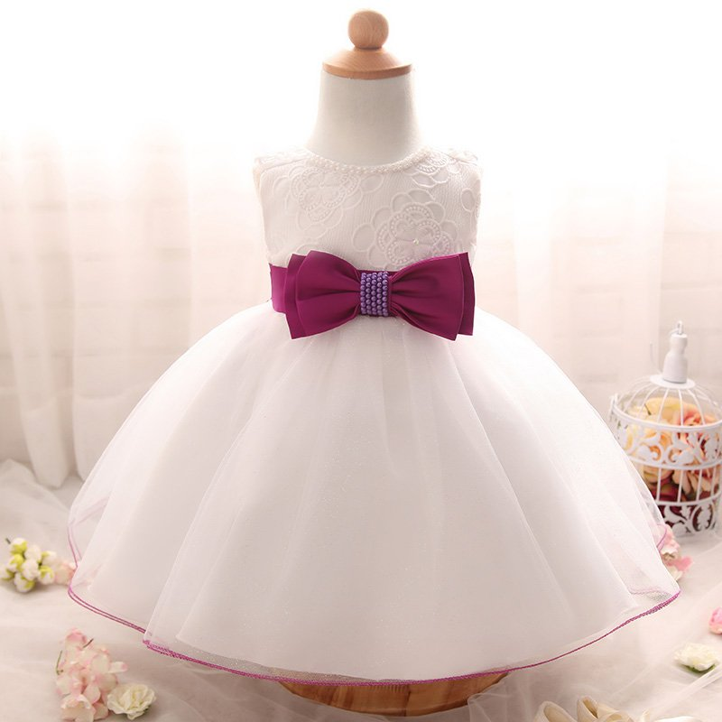 2017 Newborn White Dress For Baptism Sleeveless Baby Girl