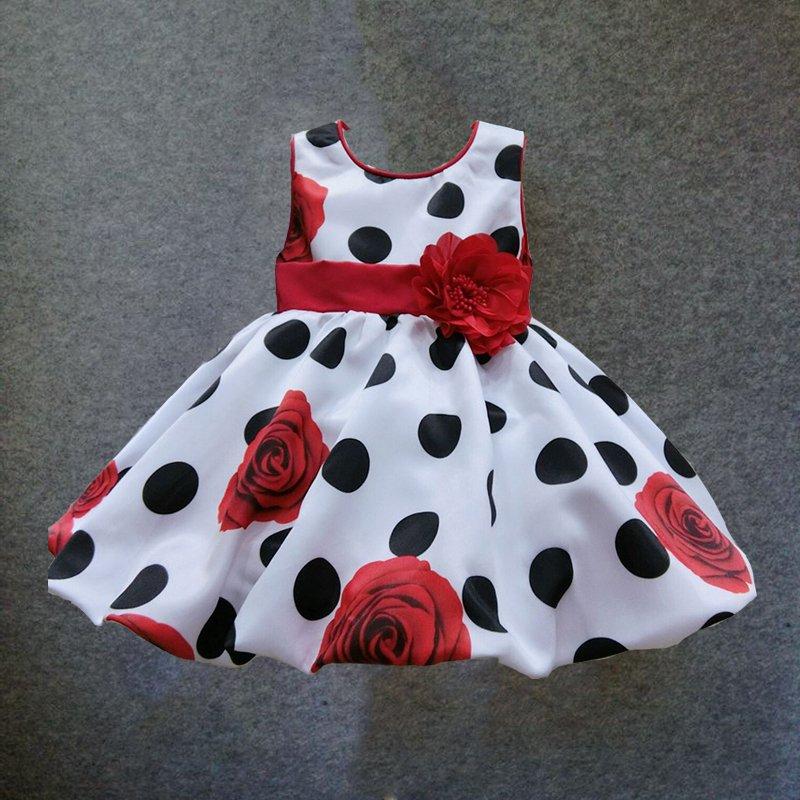 6M-4T baby girls dress Black Dot Red Bow infant summer dress