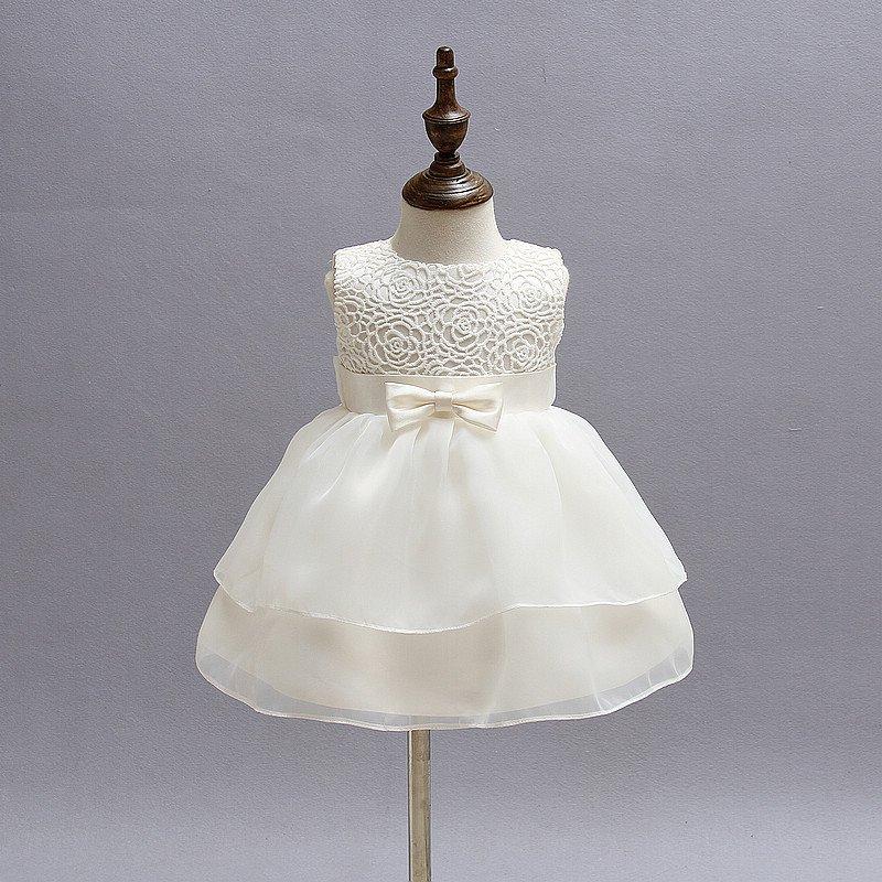 Vintage White Baby Wedding Dress 2017 Summer Newborn Baby Girl