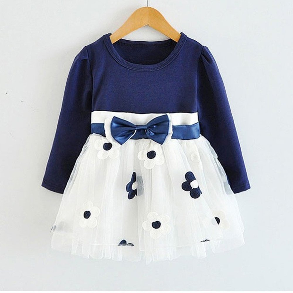 HOT New Infant Baby Girls Long Sleeve Flower Lace Tutu Dresses