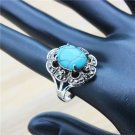 Cute Plum Flower Rhinestone Blue Stone Rings For Women Vintage