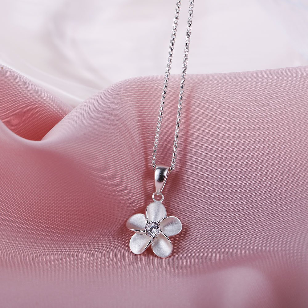 SA SILVERAGE 925 Sterling Silver Flower Long Necklaces Pendants for Women