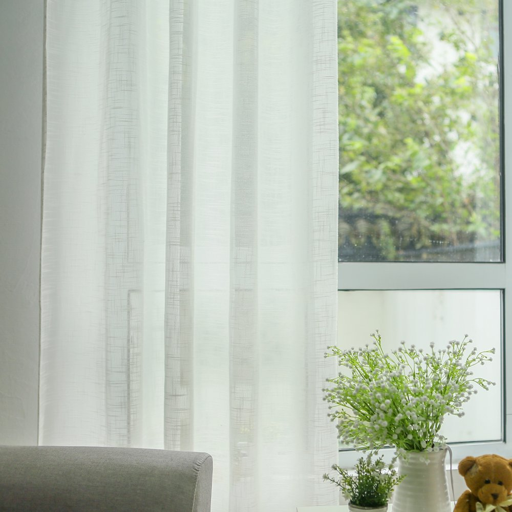 Solid color tulle curtain screens white sheer curtains for living romm