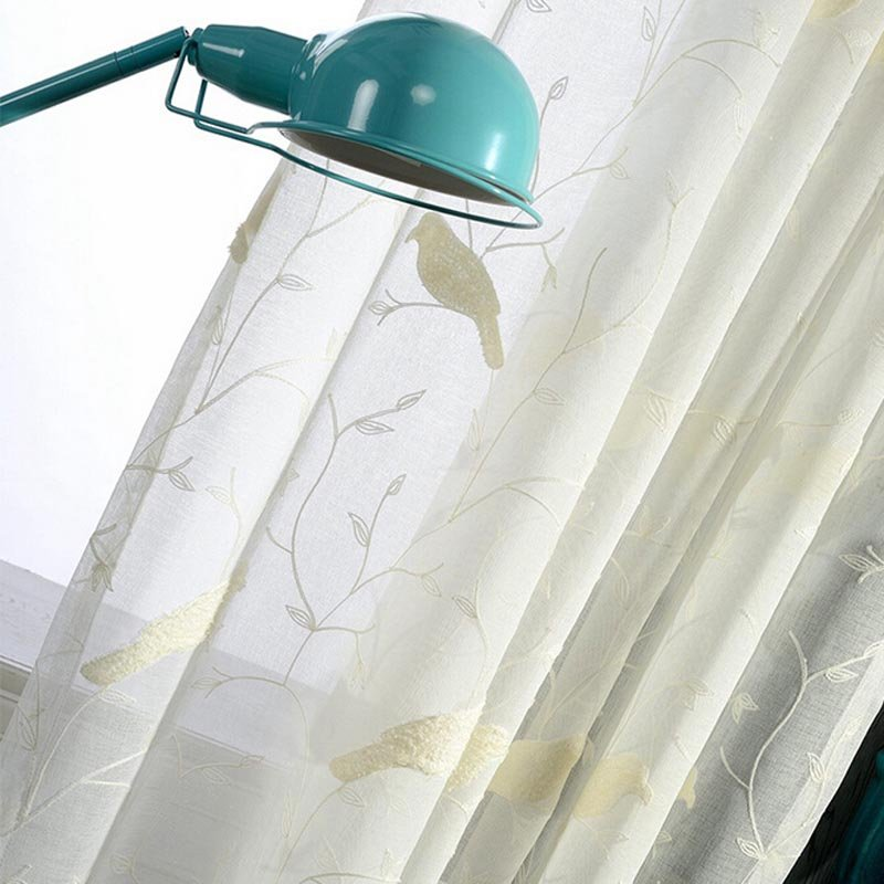 Pattern 3D Embroidery Drape Sheer Curtain fabric Tulle Voile Curtain