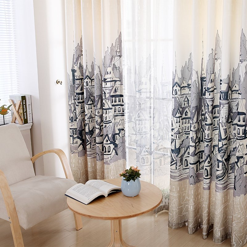 Contemporary European finished curtains for living dinind style study room