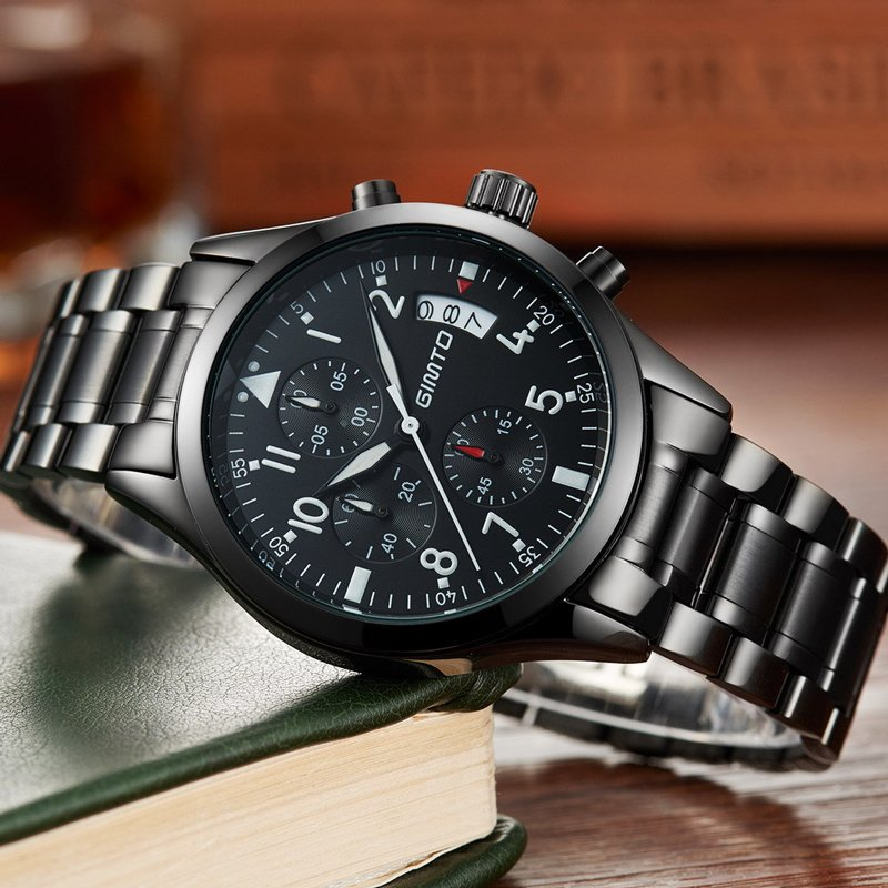 Male Sport Quartz Watch Men Top Brand Stainless Steel Band Wristwatch