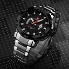 Top Brand Men's Silver Full Steel Quartz Wristwatches