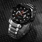 Top Brand Men's Silver Full Steel Quartz Wristwatches