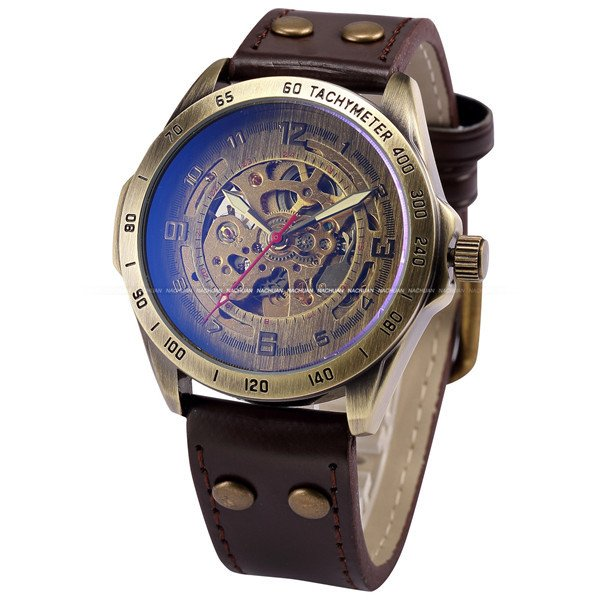 Luxury Brand Men's Retro Bronze Steampunk Skeleton Automatic