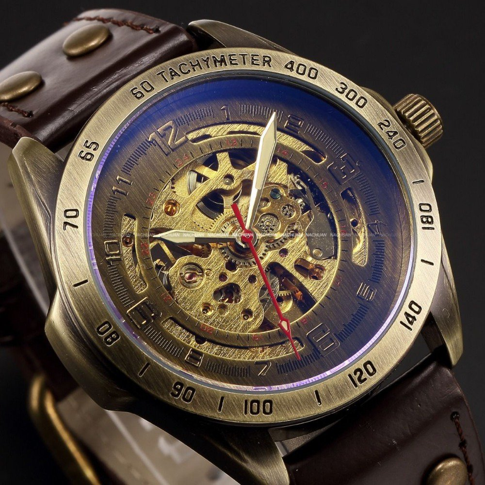 Luxury Brand Men's Retro Bronze Steampunk Skeleton