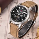 2017 NEW Men's Skeleton WristWatch 3D face Genuine Leather Casual sport