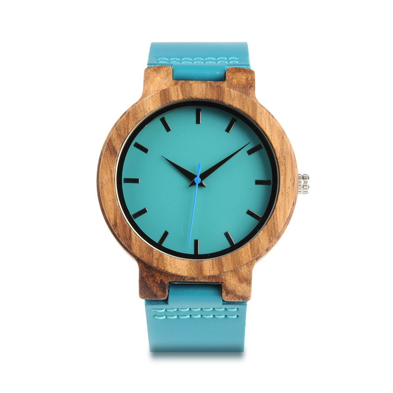 BIRD WC28 Mens Blue Leather Band Antique Wood Watches With Blue