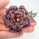 Vintage Rhinestone Flower Brooches For Women Evening Dress Broche Clip Deco