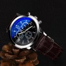 Malloom Mens Roman Numerals Blue Ray Glass Watches Men Luxury Leather Analo
