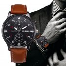Retro Design Leather Band Watches Men Analog Sport Military Alloy Quartz