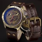 Automatic Mechanical Skeleton Steampunk Watch Men Bronze Self Widing Mens