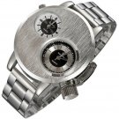 """""""Excellent Quality Sport Watch Men Dual Time Zone Dial Silver Full Steel Clo"""