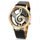 Unique watches Woman Quartz Analog Hollow Musical Note Style leather WristW