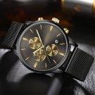 Fashion Men's Luxury Chronograph Luminous Black Quartz Watch Simulat