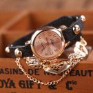 Duoya Brand Fashion Watches Women Luxury Rose Gold Heart Leather Wristwatch
