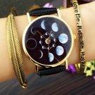 Solar Moon Phase Lunar Eclipse Watch Women Stylish Quartz Watch PU Leather