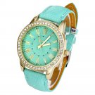 Brand Watch Geneva Women PU Leather Roman Rhinestone Quartz Wrist Watch Dre