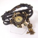 Vintage ladies fashion Quartz watch women Owl Pendant item hours Bead Brace