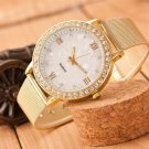 2017 Women watches Hot  Ladies Crystal Roman Numerals Gold Mesh Band Wrist