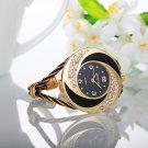 Rhinestone Whirlwind Design Metal Weave Clock female Dress Girls Bracelet B