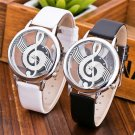 Unique Women Quartz Analog Hollow Musical Note Style Leather WristWatch Lad