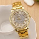 2015 New Famous Brand  Gold Arenaceous Rhinestone Casual Quartz Watch Women