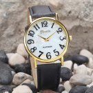 Watches For Women Retro Fashion Dial Leather Band Alloy Gold Shell Quartz A