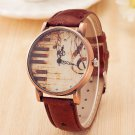 Sale Piano Musical Notation Retro Casual Quartz Watch Female PU Leather Wom