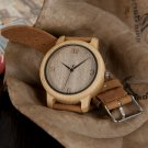 BOBO BIRD WL09 Womens Casual Antique Round Bamboo Wooden Watch With Leather
