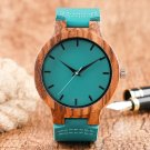 Fashion Blue Wood Quartz Watch Analog Genuine Leather Band New Arrival Hand