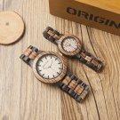 BOBO BIRD N28N30 Zebra Ebony Wooden Watches for Men Women Two tone Quartz L