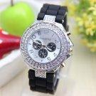 Double Rhinestone Crystal Silicone Watch  Women Watches Quartz Wristwatch C