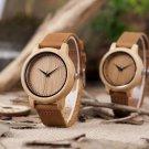 BOBO BIRD Lover Round Bamboo Wooden Wristwatch Japan Movement 2035 Quartz W