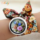 shsby design  Ladies flower cloth wristwatch fashion women dress watch high