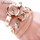 Duoya Brand Fashion Watches Women Luxury Rose Gold Heart Leather Wristwatch