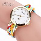 2017 New Fashion Women Gold Braided Leather Wrist Watch For Women Ladies Dr
