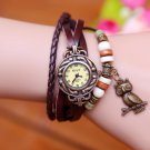 High Quality Vintage Owl Pendant Genuine Cow Leather Watches women ladies m