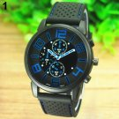 2015 Men's Casual Sports Stainless Steel Silicone Band Quartz Analog Wrist