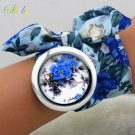 shsby 2017  New design Ladies flower cloth wrist watch fashion women dress