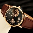 2016 New Fashion Women Wristwatches Butterfly Flower Bling Genuine Leather