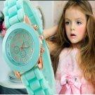 New Mini Geneva Kids Watch Girls Women Golden wristwatch Rubber gold casual