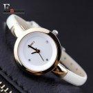 2017 Memorial  gift Enmex women creative slim strap watch golden white grac